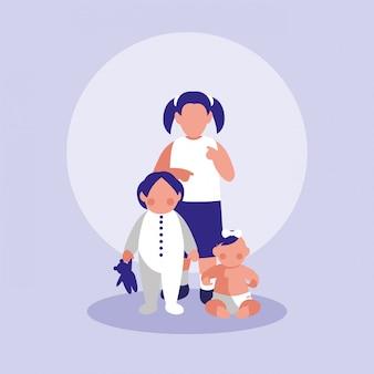 Группа маленьких девочек персонажей