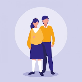 Подростки пара аватар персонажей
