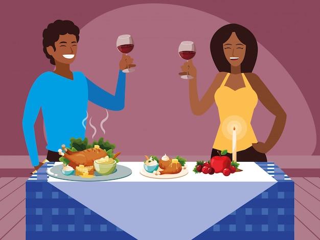 Черная пара празднует день благодарения