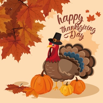 Индейка с тыквой и шляпой паломник на день благодарения