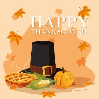 Пилигрим шляпа дня благодарения с набором иконок