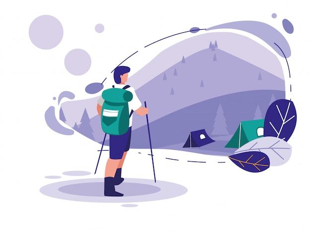 山と男のスキーのある風景