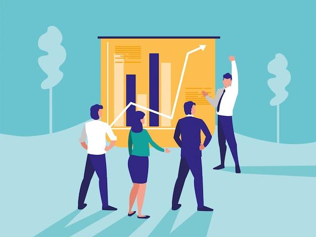 統計グラフィックを持つビジネス人々のグループ