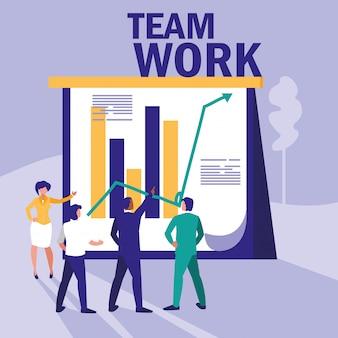 Группа деловых людей с графикой статистики