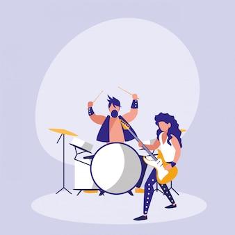 ドラムアバターキャラクターを演奏する男性
