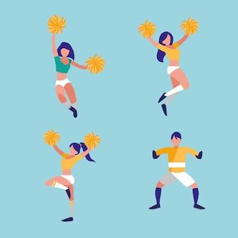 ゴールキーパーサッカーと女性のチアリーダー