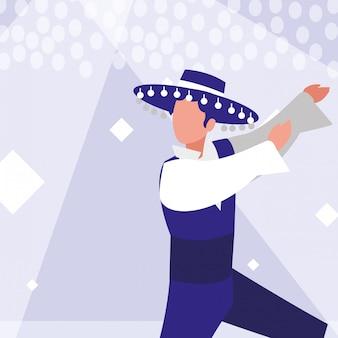 Фламенко танцор человек изолированных значок