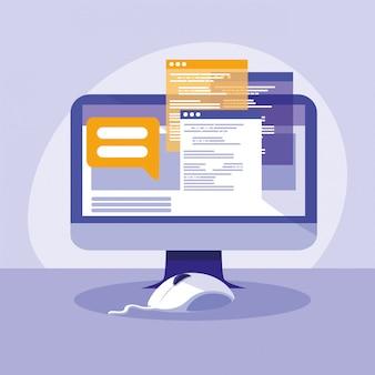 Настольный компьютер с шаблонами веб-страниц