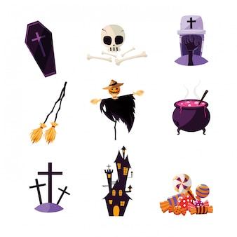 セットのキャラクターとハロウィーンカード