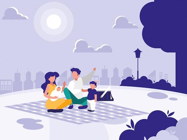 ピクニックと公園でかわいい家族