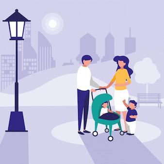Милая семья в парке