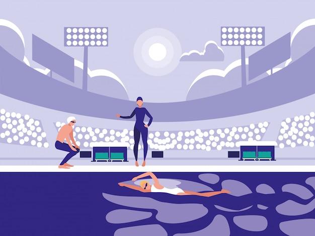 ダイビング競技のためのプールのプレーヤー