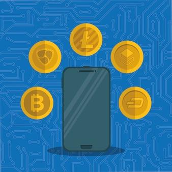 仮想コインを搭載したスマートフォン