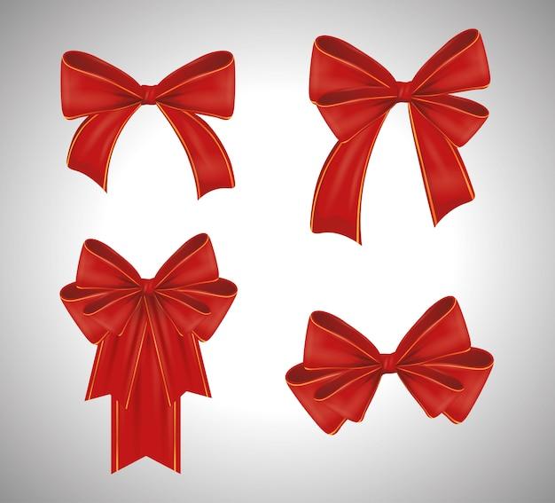 赤いリボンボウタイ装飾のセット