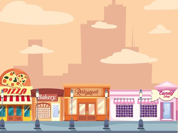 Уличный рынок коммерция плоский дизайн