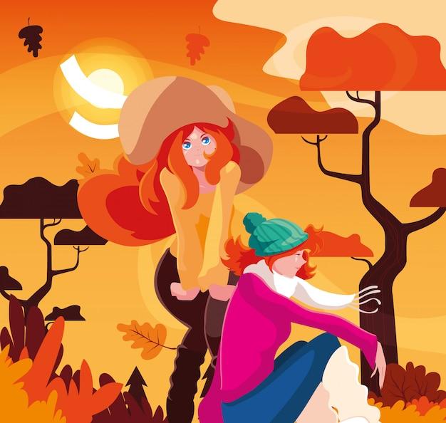 秋のベクターデザインの女性