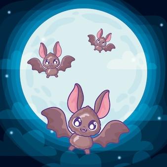 ハロウィーンのシーンを飛んでいるコウモリ