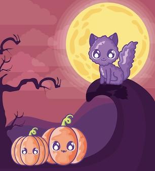 ハロウィーンのシーンにカボチャのかわいい猫