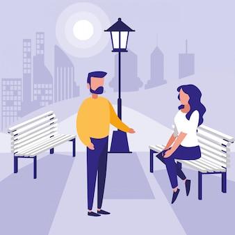 Женщина и мужчина в парке вектор дизайн