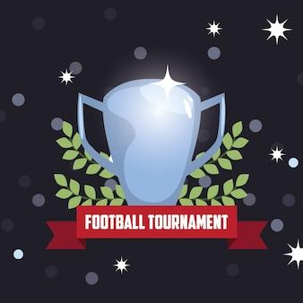 スタジアムライトとサッカートロフィーカップ