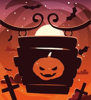 Тыквы с лицом страха в сцене хэллоуина