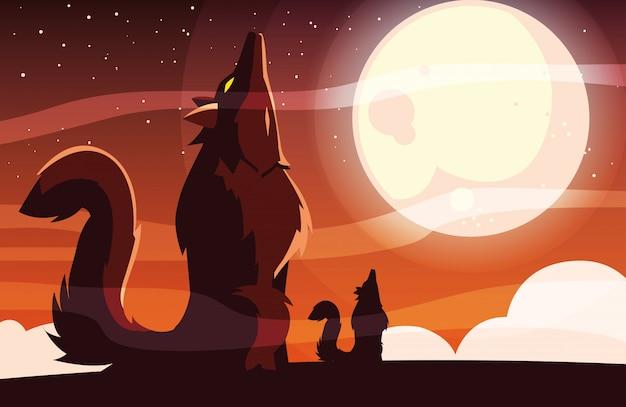 満月の下でハウリングハロウィンオオカミ