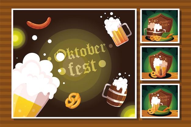 ビール祭りオクトーバーフェストのカードのセット