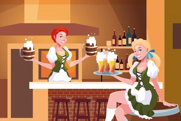 ドイツの伝統的なドレスを持つ女性は、バーでビールを飲みますオクトーバーフェストのお祝い