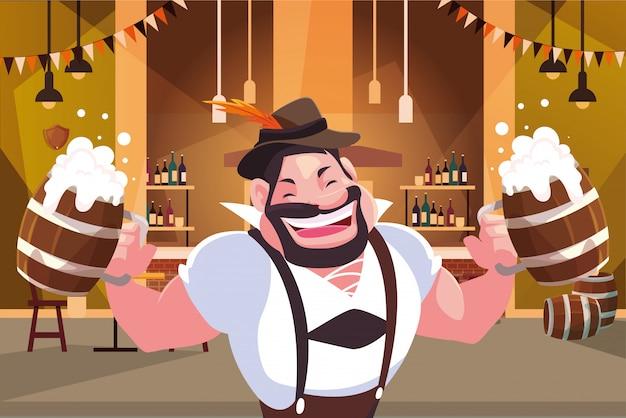Мужчина с немецким традиционным платьем пьет пиво в баре октоберфест