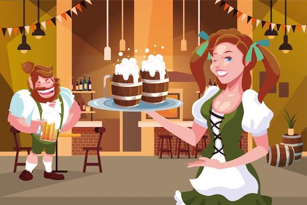 ドイツの伝統的なドレスを持つ人々のカップルは、オクトーバーフェストのお祝いバーでビールを飲む