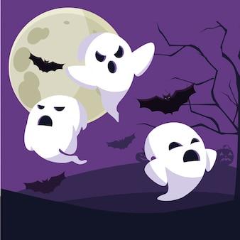 ハロウィーンの幽霊漫画
