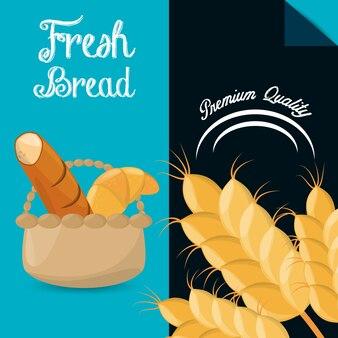 新鮮なパンのプレミアム品質のパンフレット画像
