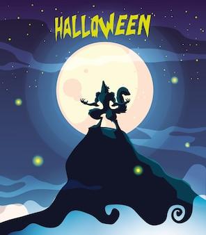 Волк воет в сцене хэллоуина