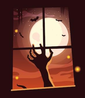 Рука зомби в сцене хэллоуина