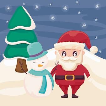 Дед мороз со снеговиком на зимнем пейзаже
