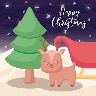 冬の風景にクリスマスツリーとトナカイとハッピークリスマス