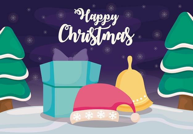 Счастливого рождества с подарочной коробке на зимний пейзаж