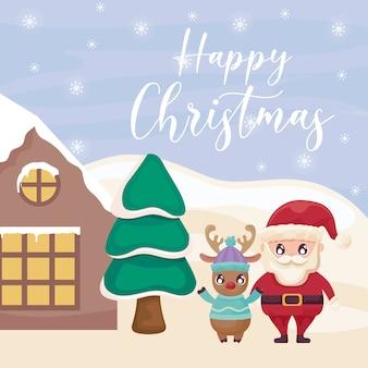 サンタクロースと冬の風景にトナカイのハッピークリスマス