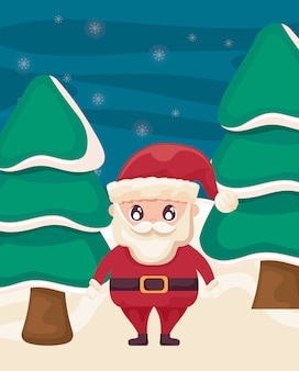 Санта-клаус с елки на зимний пейзаж