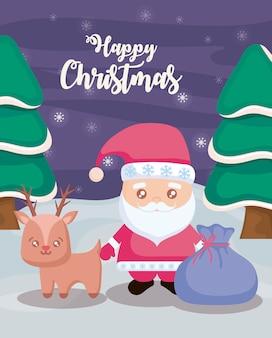 Счастливого рождества с санта-клауса и оленей на зимний пейзаж