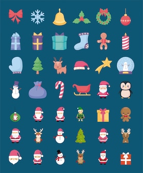 Набор иконок с рождеством
