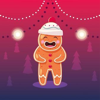 Рождественский мультяшный пряничный человечек