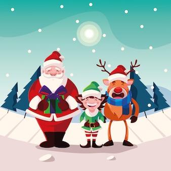 クリスマスのアイコンとクリスマスの漫画