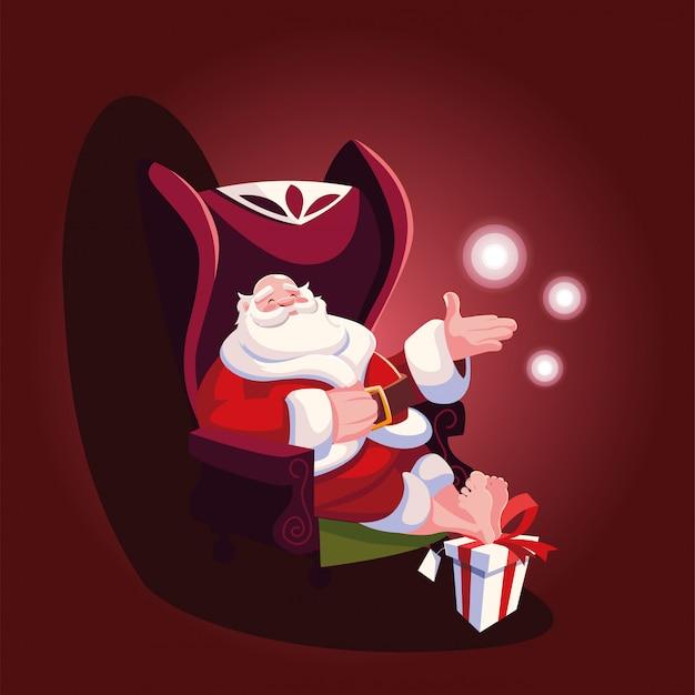 Рождественский мультфильм санта-клауса, сидя на диване