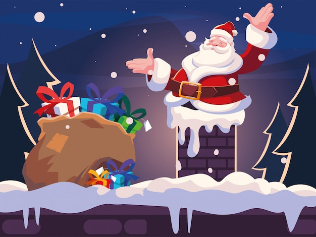 Рождественский мультфильм санта-клауса, входящего в дымоход