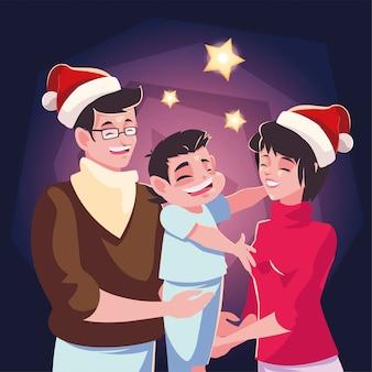 家族のクリスマスの夜のシーン、親子