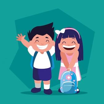 学校に戻って、学用品を持っている学生のカップル