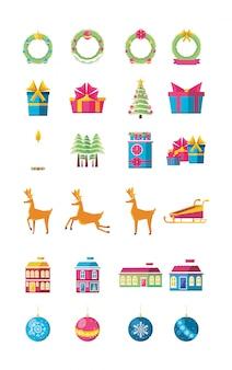Связка рождества с набором иконок