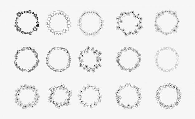 異なる黒と白のシルエット円形月桂樹の葉、オリーブ、小麦、オークの花輪のコレクション