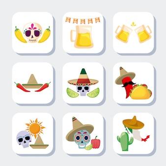 メキシコの伝統的なセットアイコンをバンドルします。